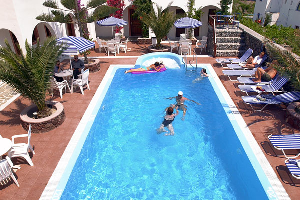 Santorini hotel with pool
